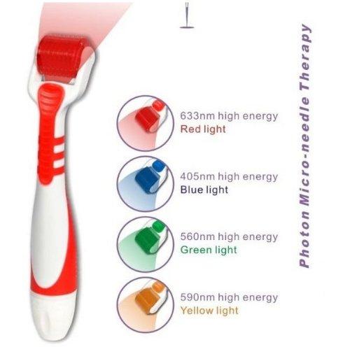LED Roller Derma Taille Lumière Micro Needle-ROUGE 0,25 mm-Accélère la guérison. Diamant Titane Système Micro aiguilletage. 540 aiguilles MTS-Derma rouleaux, une procédure commune de traitement cosmétique des nombreuses conditions en stimulant la producti