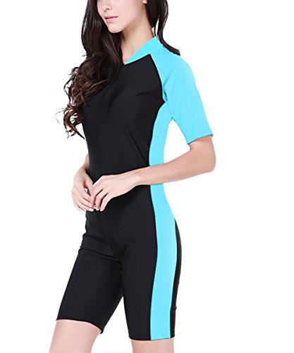 (Women One Piece Short Sleeve Swimwear Sun Protection Surfing Suit-Blue-US L/Asian XL)