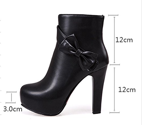 MNII Women Boots Ankle High Heel Western Sexy Heel Lace Up Platform Short Boots- Fashion shoes Black Zo7wq