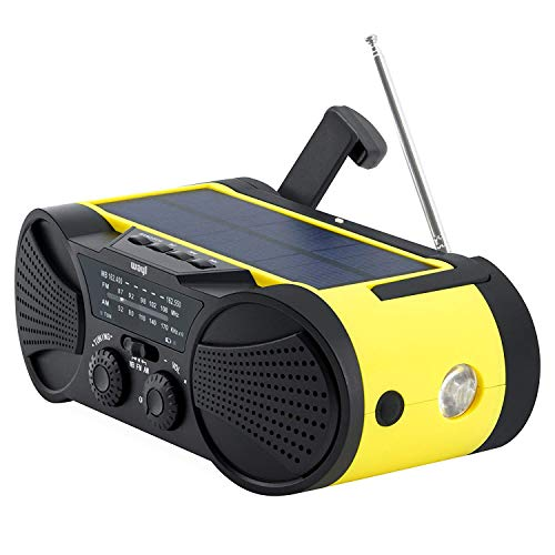 - Emergency Weather Radio 4000mAh - Portable, Solar Powered, Hand Crank, AM FM NOAA Weather Stations, USB Cell Phone Charger, SOS Alarm, LED Flashlight & Reading Light Radio - Buzz4000