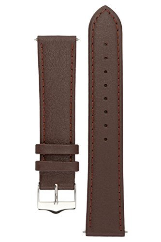 Signature Seasons in brown 18 mm short watch band. Replacement watch strap. Genuine leather. Silver Buckle Watch Chrome Leather Band