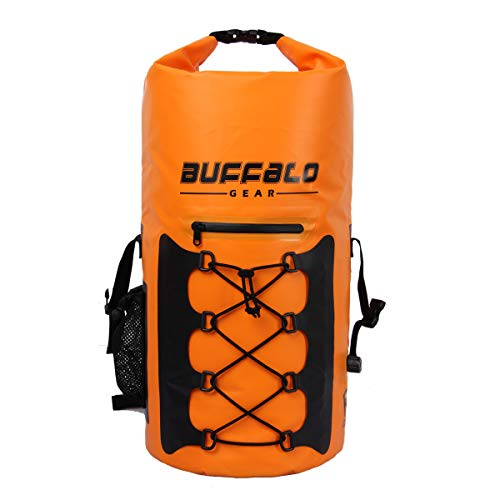 Buffalo Gear Portable Insulated Backpack Cooler Bag - Hands-Free and Collapsible, Waterproof and Soft-Sided Cooler Backpack for Hiking, The Beach, Picnics,Camping, Fishing - Orange,35 Liters,30 Can