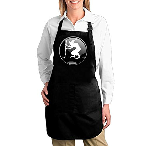 Large Wizard Ovals - aportt Witch Badge Oval Wizard Sorcerer Halloween Black Kitchen Aprons for Women and Men Adjustable Side Strap Restaurant Home Chef Bib Apron for Cooking BBQ Grill