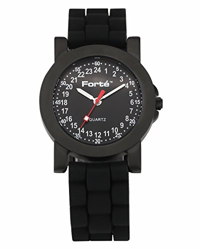 Forté 24 Hour quartz black Dial Unisex Army Watch 1039M24-KKDS for Smaller Wrists -- with Real 24-hour Movement
