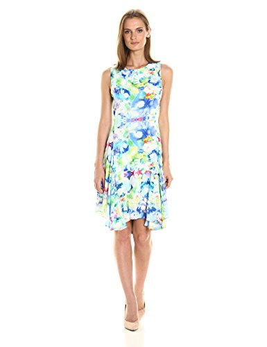 Julia Jordan Women's All Over Floral Printed Sleeveless Dress Sheath, Ivory/Blue/Multi, 14 by Julia Jordan