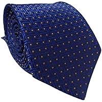 Gravata Slim Trabalhada Xadrez Importada Azul Com Bolinhas
