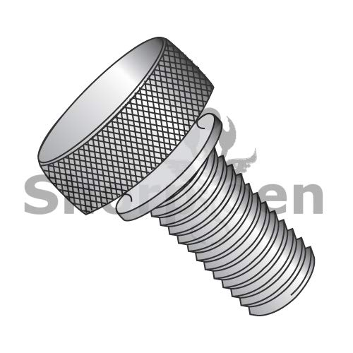 SHORPIOEN Knurled Thumb Screw with Washer Face Full Thread Aluminum 8-32 x 5/8 BC-0810TKWAL (Box of 100)