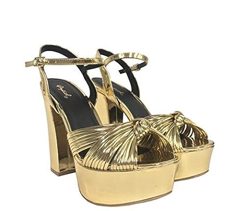 CRUSH 15! Women's Metallic Knot Ankle Strap Chunky Heel Platform Sandals, Gold Met Leatherette 8 M - Metallic Knot