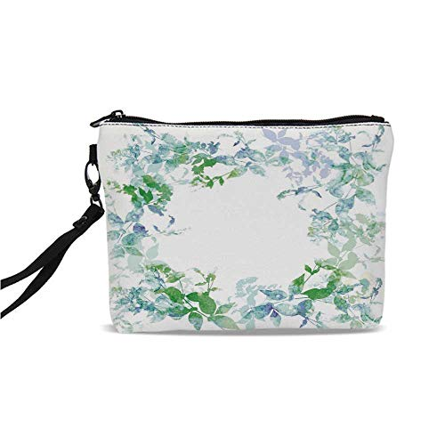 Mint Simple Cosmetic Bag,Floral Spring Wreath in Watercolor Paintbrush Stylized Hazy Effects Artful Image for Women,9