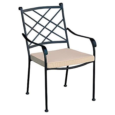 Set 4 sedie in ferro battuto con cuscino per esterno giardino ...
