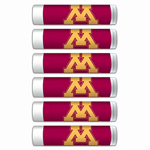 Minnesota Golden Gophers Premium Lip Balm 6-Pack with SPF 15, Beeswax, Coconut Oil, Aloe Vera. Gifts for Men and Women, Valentine's Day, Easter, Mother's Day, Father's Day, stocking stuffers. (Minnesota Gopher Tailgating)