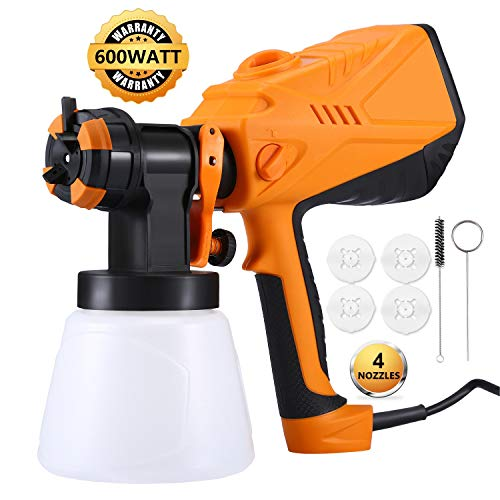Paint Sprayer Power Painter - Beaspire 600 watt High Power Home Electric Spray Gun, Professional HVLP Painting Tool with 1000ml Detachable Container for Spray Painting & Painting Projects