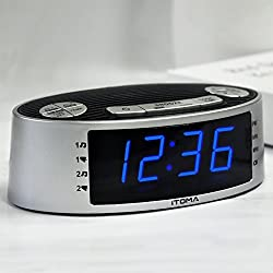 (New) iTOMA Alarm Clock Radio, Digital AM FM Radio, Dual Alarm with Snooze, Sleep to Radio Timer, Dimmer Control, Indoor Temperature Display, Backup Battery (CKS3301S)