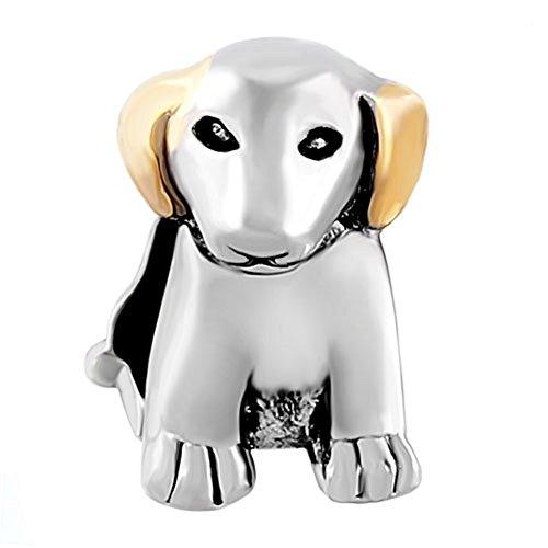 Beagle Dog Charm (ReisJewelry German Shepherd Bulldog Labrador Puppy Dog Charm Animal European Bead For Bracelet (Beagle Puppy Dog))