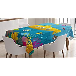 """Ambesonne Yellow Submarine Tablecloth, Coral Reef with Colorful Fish Ocean Life Marine Creatures Tropic Kid, Dining Room Kitchen Rectangular Table Cover, 52"""" X 70"""", Blue Yellow"""