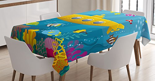 Yellow Submarine Tablecloth by Ambesonne, Coral Reef with Colorful Fish Ocean Life Marine Creatures Tropical Kids, Dining Room Kitchen Rectangular Table Cover, 52 X 70 Inches