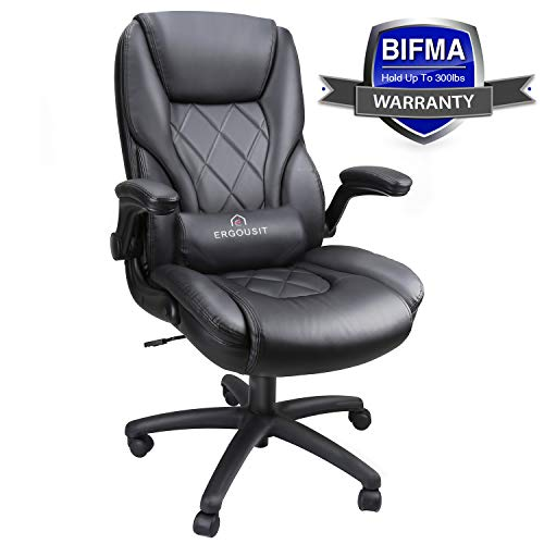Executive Office Chairs – High Back Racing Style Task Chair – Adjustable Computer Desk Chairs with Lumbar Support, Leather Black for Office Room Decor (Black)