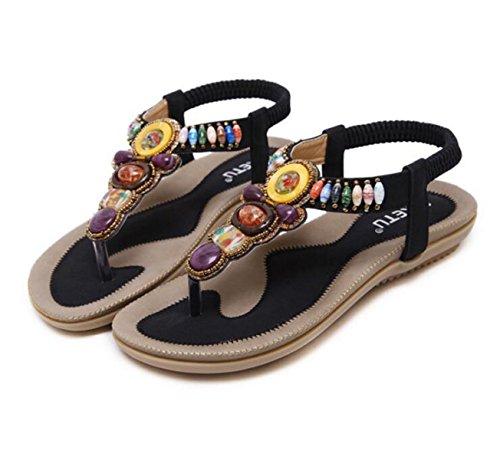 GRRONG Sandalias Sandalias De Los Zapatos Planos De La Mujer Moldeado Grandes Patios Black