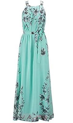 Wicky LS Women's Floral Printed Summer Chiffon Dress Plus Size Beach Sundress