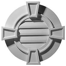 Ekena Millwork GVRO30TDK 30-Inch W x 30-Inch H x 1 1/8-Inch P Round Gable Vent with Keystones, Decorative