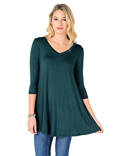 Fashion California Womens V-Neck 3/4 Sleeve Loose Fit Tunic Top (XXX-Large, Dark Teal) (Sleeve V-neck Tunic Top)