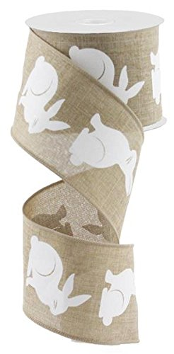 Bunny Canvas Wired Edge Ribbon, 2.5
