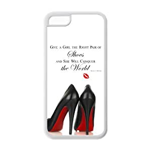 "Unique Design Marilyn Monroe iPhone 5C Cover Case-""Give a girl the right pair of shoes and she will conquer the world !"""