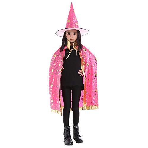 amp; Rosa Mago BYSTE Wizard Adulto Strega magico Robe femminile Bambino stella Caldo Costume Bambina cappello scialle Stampa Mantello Halloween mantellina Costume BqaZH