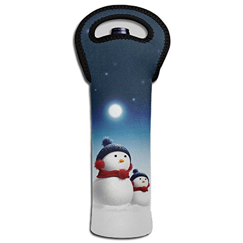 MMNJUIPOP Snowman Single Wine Tote Bag, Insulated Padded Thermal Wine Bottle Carrying Cooler Carrier for Travel, Picnic, Perfect Gift for Wine Lover Best Insulated Snowman Gloves