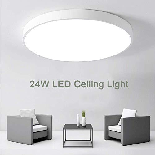 LED-plafondlamp 24W, Kimjo Ronde Badkamerlamp, Koud wit 6500K 2160LM IP44 waterdicht, Ø 23cm, Inbouw Plafondlamp Voor…