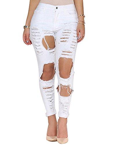 Bootcut Lápiz Perfectly blanco Skinny Rasgados Vaqueros Mujer Slimming Jeans wfqqg