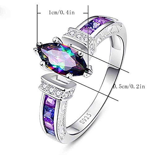 925 Silver Rings for Women Fashion Gemstone Shape Jewelry Mystic Ladies Ring Luxurious Dainty Couple Gift for Women Jewelry (Multicolor, 8)
