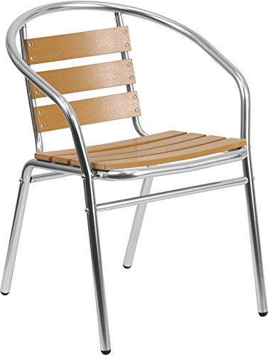 Commercial Aluminum Indoor-Outdoor Restaurant Stack Chair with Triple Slat Faux Teak Back 21.75