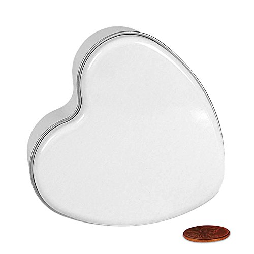 Small White Heart Shaped Tins | Quantity: 288 | Width: 3''