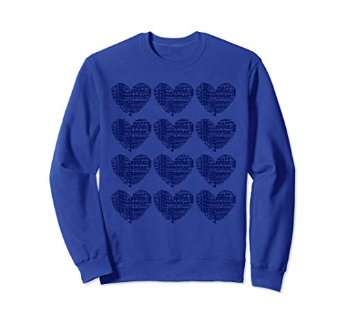 Faith Kids Sweatshirt - Happy Hanukkah Hearts. Gift for Mom, Dad, Kids. Jewish Faith Sweatshirt