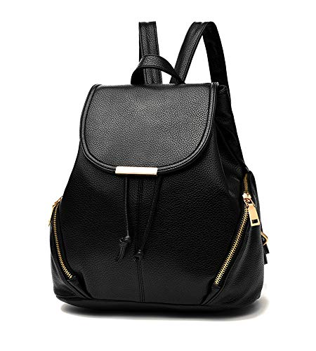 Bag Rucksack Zipper PU Leather Bag Backpacks Fashion YING EUPHIE Shoulder Travel Black03 Women wXx1qPaXZp