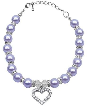 Mirage Pet Products 6 to 8-Inch Heart and Pearl Necklace, Small, Lavender
