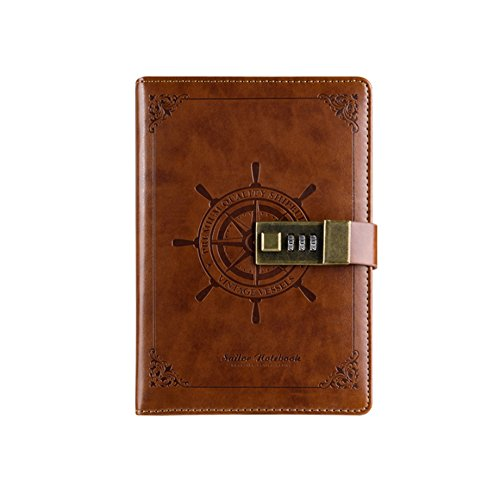 XDOBO PU Leather Journal Writing Notebook, Vintage Business Notebook Notepads Professional Diary Locked with Pen Holder and Pockets (Classic Brown)