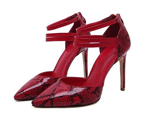 Chaussures Court Femme Chaussures à talons hauts avec peau superficielle , red , 39