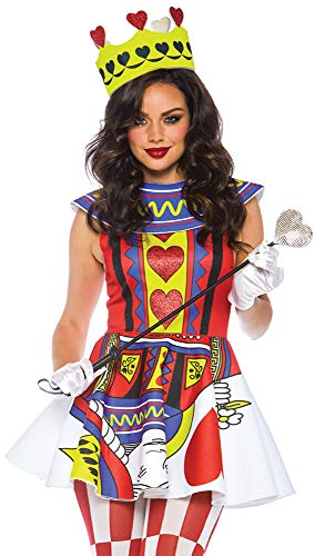 Leg Avenue Womens Card Queen of Hearts Halloween Costume, Multi -