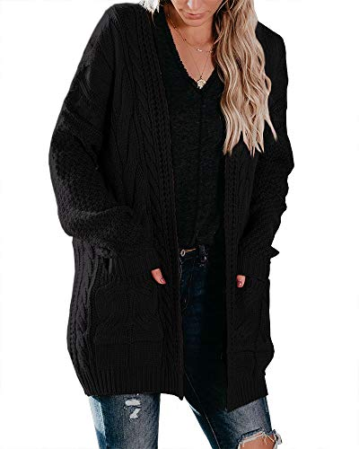 Yacooh Womens Chunky Cable Knit Cardigan Sweaters Oversized Open Front Long Sleeve Casual Loose Outwear with Pockets