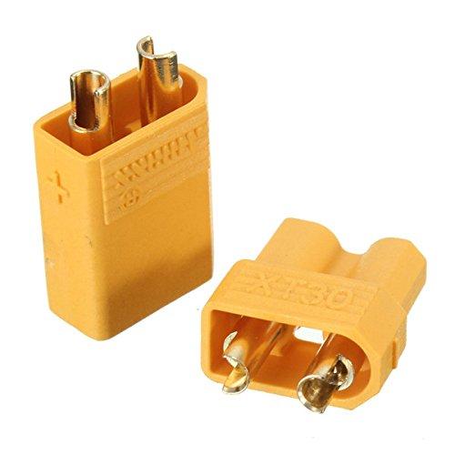 QOJA 1pair xt30 2mm golden male female non-slip plug (Gold 2 Mm Slip)