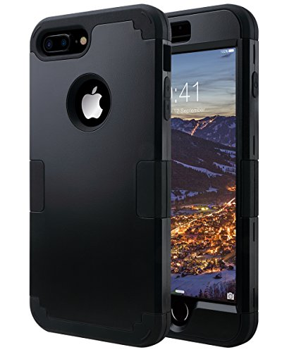 iPhone 7 Plus Case, ULAK Heavy Duty Slim Shockproof Drop Protection 3 in 1 Hybrid Hard PC Covers Soft Rubber Bumper Protective Case for iPhone 7 Plus Cute Black - Black Protective Case