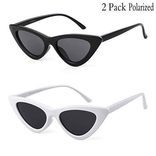 Clout Goggles Cat Eye Sunglasses Vintage Mod Style Retro Kurt Cobain Sunglasses (Black&Red(2 packs), ()