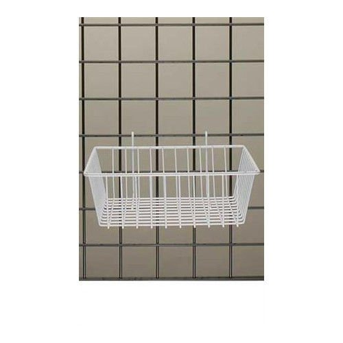 Pack of 3 White Powder Coat Finish Mini-Grid Basket 12''L x 12''W x 4''D