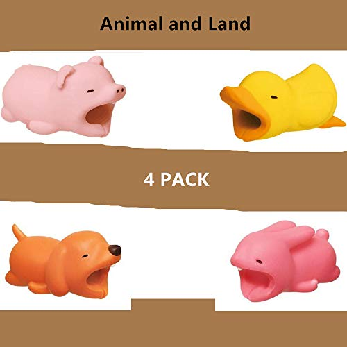 DECVO Cable Protector for iPhone iPad Cable Android Samsung Galaxy Cord Plastic Cute Land Animals Phone Accessory Protects USB Charger Data Protection Cover Chewers Earphone Cable Bite 4 PC (PDDR)