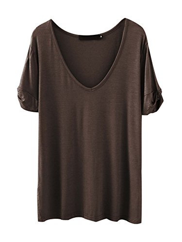 (SheIn Women's Summer Short Sleeve Loose Casual Tee T-Shirt Coffee#1 XX-Large)