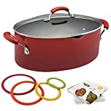 Nonstick 8 Quart Covered Rachel Ray Pasta Pot with Strainer   Red Gradient bundled with silicone trivets and kitchen towel sets!