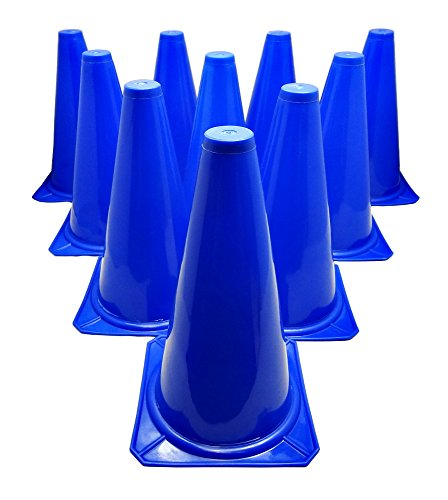 (BlueDot Trading Cones (10-Pack), 9-Inch, Blue)