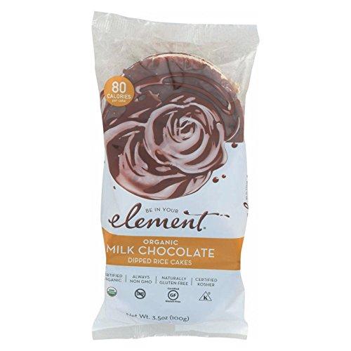 ELEMENT, Rice Cake, Og2, Milk Choc, Pack of 6, Size 3.5 OZ, (Low Carb Gluten Free Kosher Low Sodium Vegan Wheat Free Yeast Free 95%+ Organic) (Chocolate No Salt Milk)
